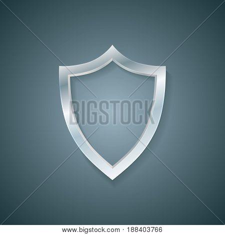 Vector blank profile shield. Defense icon. Protection concept
