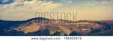 Agricultural Area Against Beautiful Sky With Cloudy And Sunbeam.