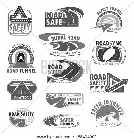 Road safety vector icons set for highway and tunnel construction technology or investment company. Isolated symbols of motorway or transport bridges and drives with road traffic lanes and arrows