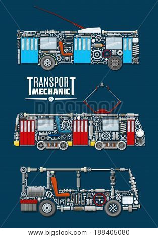 Transport mechanics of passenger and urban vehicles with detailed mechanisms and parts of bus engine, trolleybus and gear, tram wheels and gauges with screws and valves,