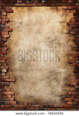 Fond de plâtre avec encadrement de mur de brique