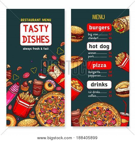 Fast food restaurant menu. Vector fastfood price cover template with burgers, pizza and soda or coffee drinks, chicken grill wings or nuggets and french fries snacks, ice cream or donut desserts