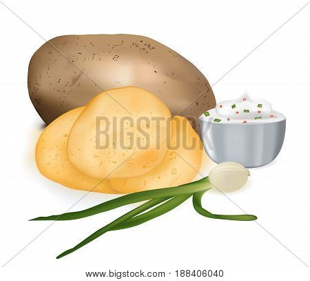 Potato chips with sour cream and onions, tasty snack, the vector image of food