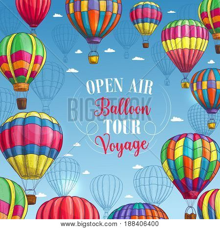 Hot air balloon tour or voyage poster. Vector design of inflated hopper balloons with zig zag, stripes or square patch pattern decor and air trip gondola for summer vacation travel