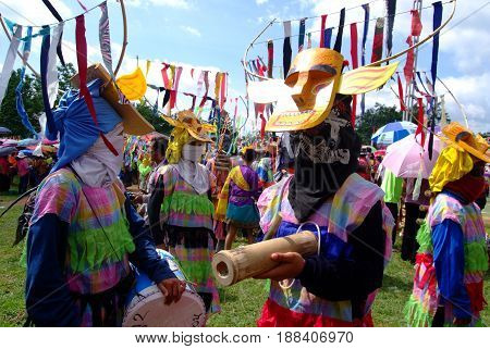 LOEI THAILAND - MAY 12 2017 : Phi Kon Nam Cultural in Chiang Khan The little-known Phi Kon Nam festival in Ban Na Sao is part of the village's rain-inducing Bun Bang Fai (Rocket Festival)