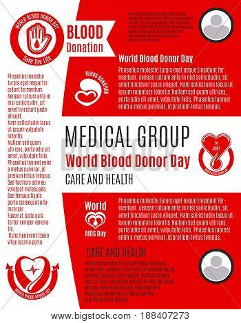 Blood Donation Day vector poster for health and volunteering care or blood transfusion center. Design for social donor charity event with symbols of blood drops on heart and helping hands