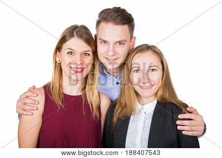 Picture of two attractive woman posing with a handsome young man on isolated background