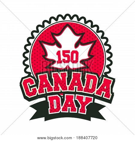 Vector illustration 150 years old with canada badge badge on white background