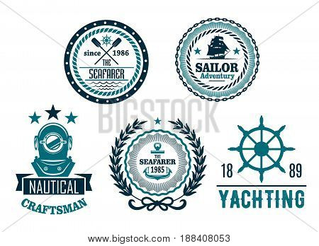 Nautical icons for yachting club or seafarer heraldic labels. Vector symbols of ship helm and anchor, diver aqualung mask, brigantine and paddles, captain or sailor compass and wreath with stars
