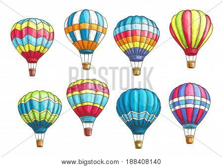 Hot air balloons vector sketches of inflated hopper balloons or cloudhopper aircrafts with zig zag, stripes or square patch pattern design for air trip or summer vacation travel tour and voyage