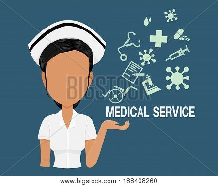 Nurse character with the medical info graphic icons on blue background