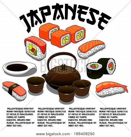 Sushi bar vector poster for Japanese seafood restaurant. Set of sushi and sashimi rolls with salmon fish and tempura shrimp or squid on steamed rice with soy sauce, nori seaweed and green tea cups