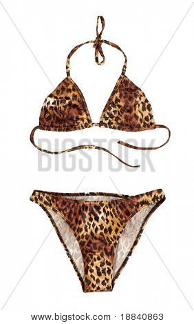 Leopard swimsuit isolated on white background with clipping path