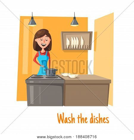 Housewife at kitchen washing dishes or cooking food at stove and table with plates. Vector woman in apron with ladle spoon stirring soup in sauce pan. Mother or wife and home work or cook concept