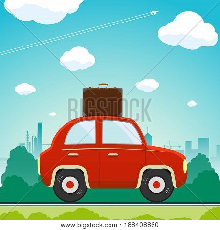 Car with a suitcase is driving along the road. Vacation and travel. Stock vector flat graphic illustration.