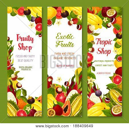Exotic fruits vector banners set of tropical guava or carambola, avocado and passionfruit, figs and juicy dragon fruit, feijoa or mangosteen, mango or papaya and orange grapefruit harvest