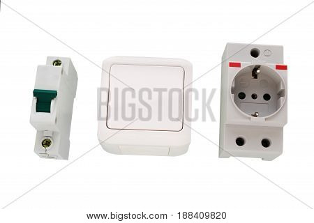Electric circuit breaker and socket power outlet isolated on a white background