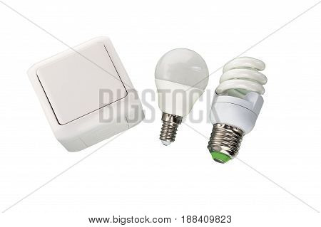 LED bulbs and electric light switch isolated on white background.