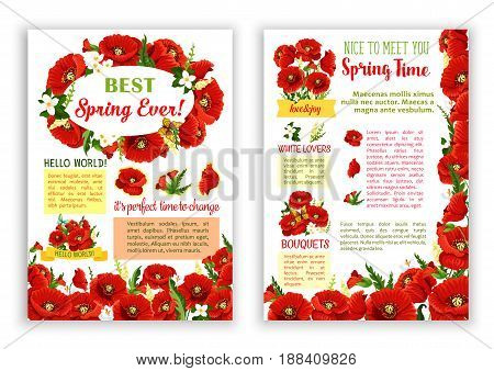 Springtime poster with poppy flowers and spring floral bouquets of orchid blossoms and blooming lily of valley. Vector design of flourish flowers bunches with spring time greeting quotes