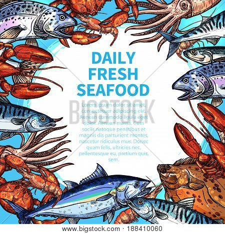 Seafood poster for fish food market or restaurant menu template. Vector design of fishing catch salmon and squid or shrimp, lobster, tuna or octopus, herring and trout or crab with flounder