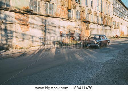 TALLINN ESTONIA - MAY 6 2017: American Beauty Car Show in motion 1966 Rambler American on street of Kalamaja district.