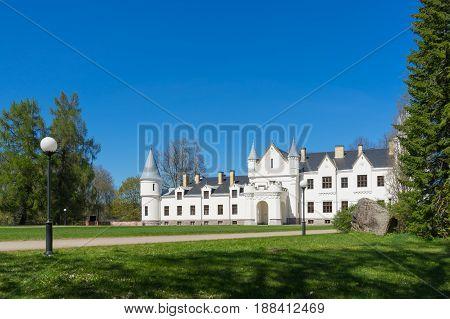 Alatskivi castle by sunny springtime. Neo-gothic style manor Tartu county Estonia