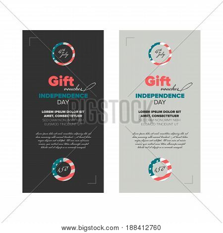 Gift voucher template with premium vintage elements dedicated Independence day in USA