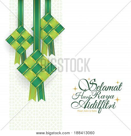 Selamat Hari Raya Aidilfitri greeting card. Vector ketupat with Islamic pattern as background. (translation: Fasting Day of Celebration, I seek forgiveness (from you) physically and spiritually)