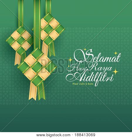 elamat Hari Raya Aidilfitri greeting card. Vector ketupat with Islamic pattern as background. (translation: Fasting Day of Celebration, I seek forgiveness (from you) physically and spiritually)