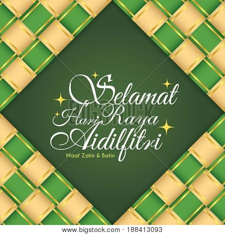 Selamat Hari Raya Aidilfitri greeting card with decorative ketupat (malay rice dumpling) ribbon. (translation: Fasting Day of Celebration, I seek forgiveness (from you) physically and spiritually)