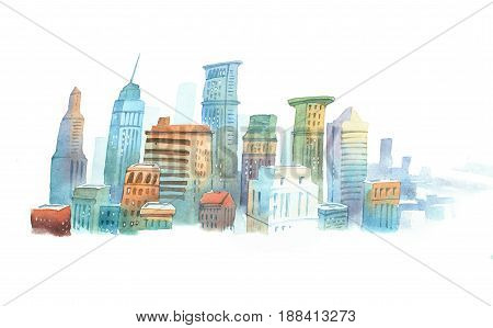 Colored aquarelle sketch of high buildings in New York, the USA. Cityscape of big modern city.