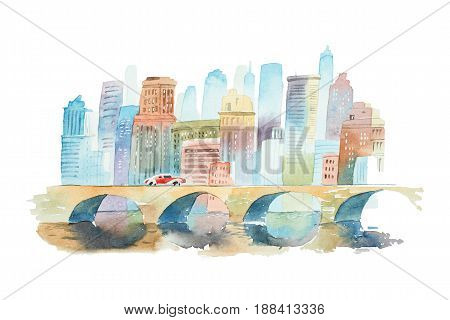 Hand drawn watercolor cityscape with a stone bridge in foreground and high buildings in background.