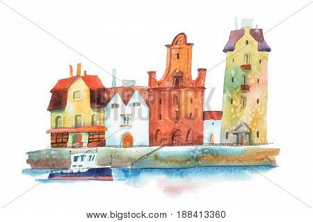 Pier in European city with row of old traditional houses and a boat on water painted with watercolors on white background.