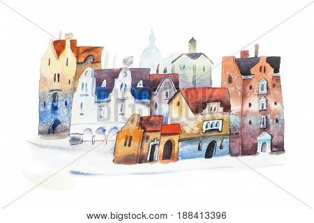 Hand drawn postcard of old city street in Europe. Watercolor cityscape.