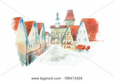 Famous street of old historic Bavarian town Rothenburg ob der Tauber painted with watercolors on white background.
