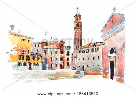 Colored watercolor sketch of old town in Europe drawn on white paper. View of Santa Maria dei Frari steeple in Venice, Italy.