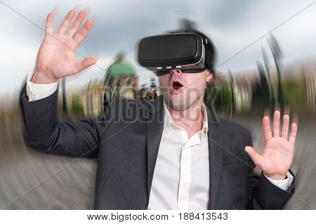 Businessman Using Virtual Reality Headset Glasses