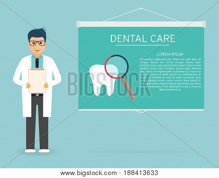 Doctor with medical clipboard in hands. Tooth magnifier dental care on projection screen. Doctor on presentation. Handsome young doctor in glasses. Vector