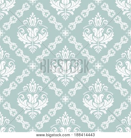 Orient vector classic light blue and white pattern. Seamless abstract background with repeating elements. Orient background