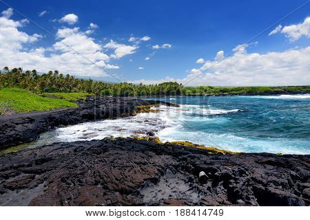 Rough And Rocky Shore At South Coast Of The Big Island Of Hawaii