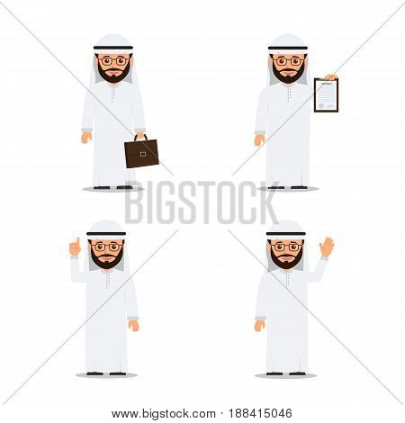 Set characters arab man in various poses. Arab businessman. Vector illustration in flat style.