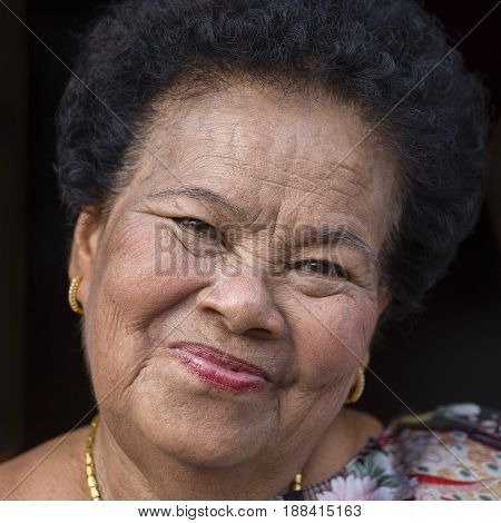 KOH PHANGAN THAILAND - NOVEMBER 13 2016 : Portrait old woman in street market close up