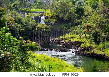 Majesitc Pee Pee Falls Waterfall In Hilo, Wailuku River State Park, Hawaii