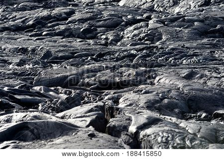 Smooth, Undulating Surface Of Frozen Pahoehoe Lava. Frozen Lava Wrinkled In Tapestry-like Folds And