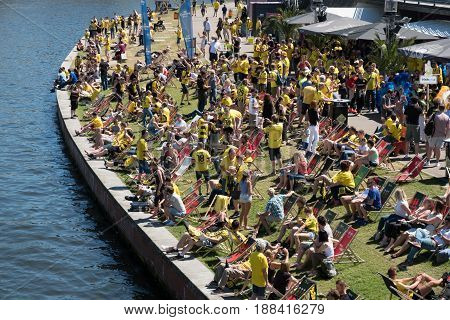 German Football Fans Of Bvb Borussia Dortmund On The Day Of The Dfb-pokal Final