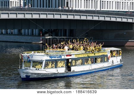 German Football Fans Of Bvb Borussia Dortmund On Boat On The Day Of The Dfb-pokal Final In Berlin