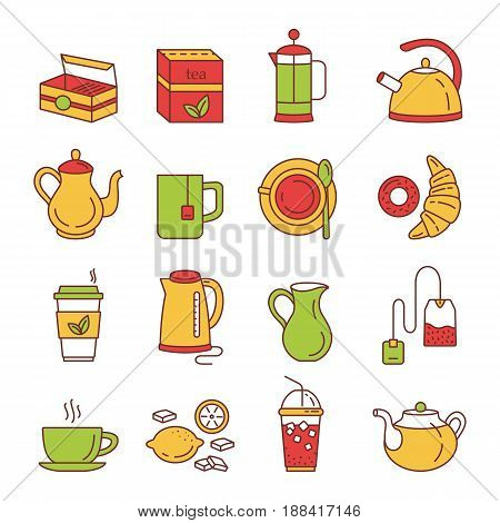 Tea icons. Outline web icon set. Kitchen appliances and various kinds of kettles. French press electric kettle milk jug tea mug tea box tea bag lemon croissant and donut. Vector Illustration.