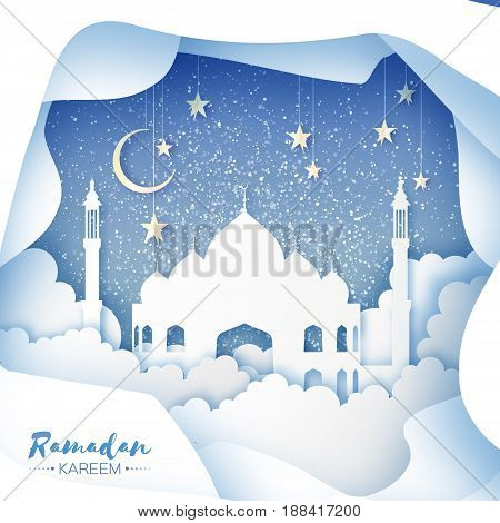 Ramadan Kareem Greeting card. Arabic White Origami Mosque. Paper cut Desert Cave Landscape. Clouds. Gold stars. Night sky. Holy month of muslim. Symbol of Islam. Crescent Moon. Blue. Vector