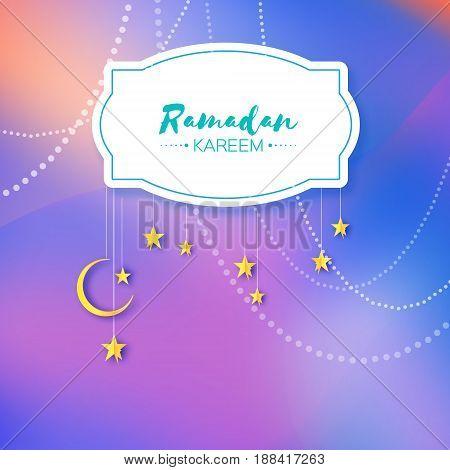Purple Ramadan Kareem celebration greeting card. Hanging arabic gold stars and crescent moon. Holy month of muslim. Symbol of Islam. Moon Ramadan. Space for text. Frame. Garland. Vector illustration.