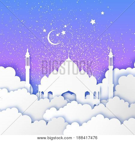 Ramadan Kareem. Arabic Mosque in paper cut style. Stars, clouds. Crescent Moon. Holy month of muslim. Symbol of Islam. Night sky. Origami Greeting card. Blue background. Vector